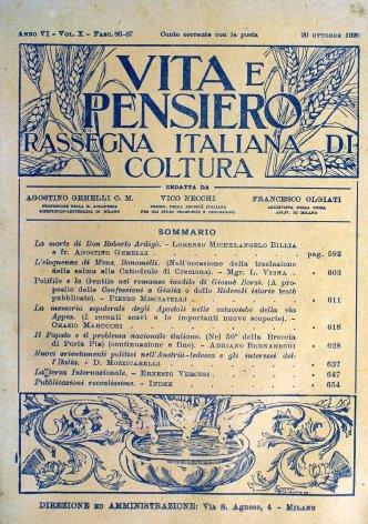 Il Papato e il problema nazionale  italiano (Nel 50° della Breccia di Porta Pia) (continuazione e fine)