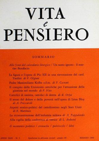 La figura e l'opera di Pio XII in una rievocazione del card. Tardini