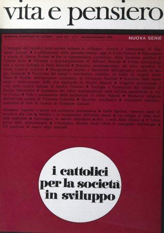 L'impegno dei cattolici nella società italiana in sviluppo: ricerca e formazione