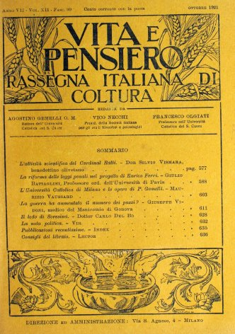 L'Università Cattolica di Milano e le opere di P. Gemelli