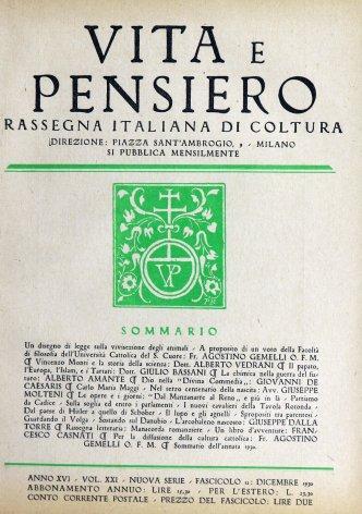 Sommario dell'annata 1930