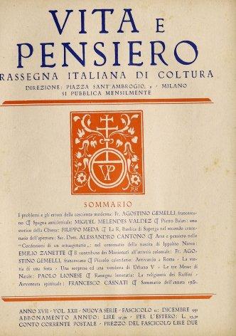 Sommario dell'annata 1931