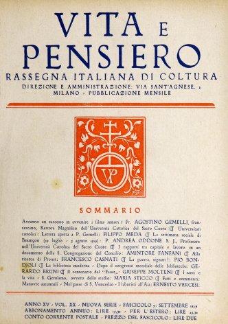 Universitari cattolici. Lettera aperta a p. Gemelli, rettore dell'Università Cattolica del Sacro Cuore