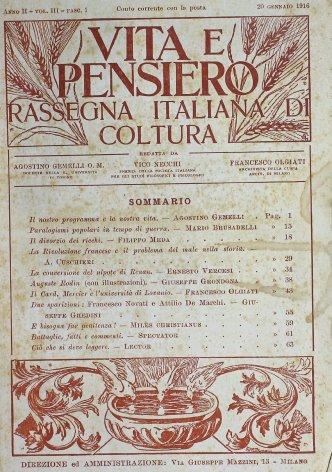 VITA E PENSIERO - 1916 - 1
