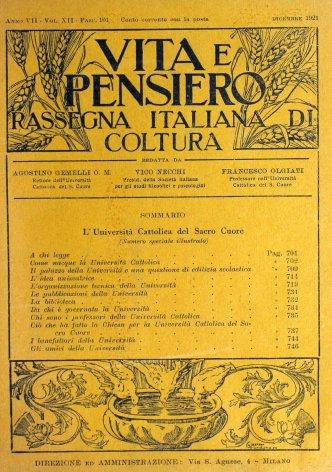 VITA E PENSIERO - 1921 - 12