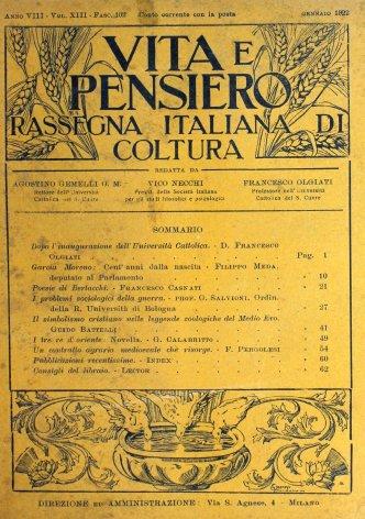 VITA E PENSIERO - 1922 - 1