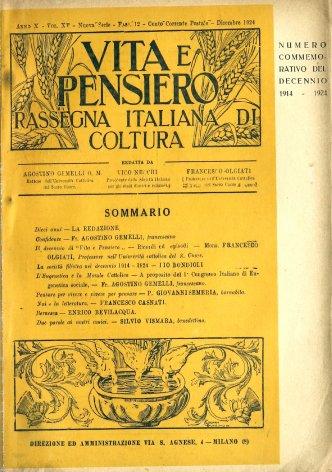 VITA E PENSIERO - 1924 - 12