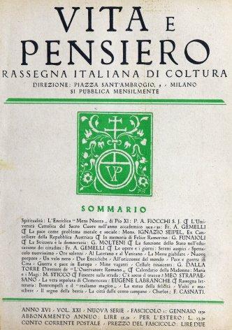 VITA E PENSIERO - 1930 - 1