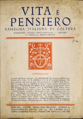 VITA E PENSIERO - 1931 - 1