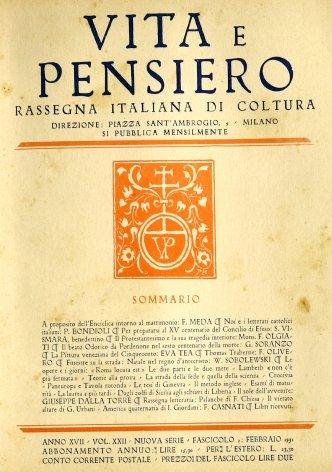 VITA E PENSIERO - 1931 - 2