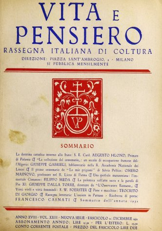 VITA E PENSIERO - 1932 - 12