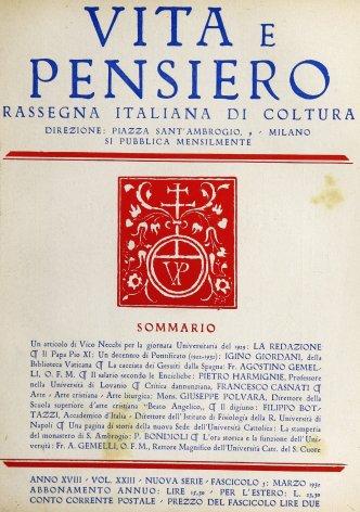 VITA E PENSIERO - 1932 - 3