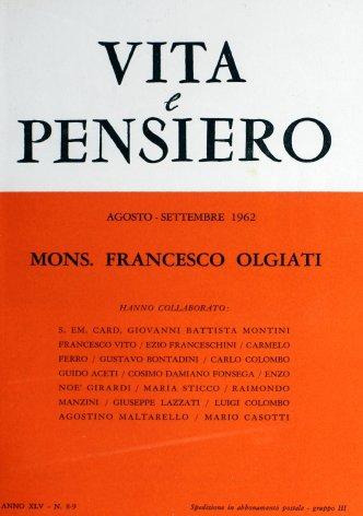VITA E PENSIERO - 1962 - 8-9