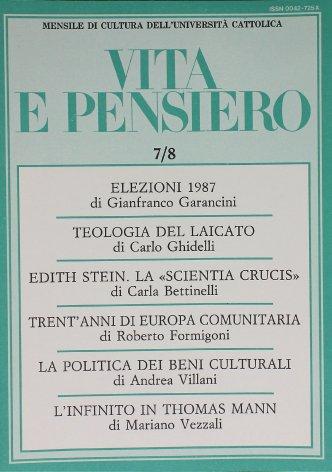 VITA E PENSIERO - 1987 - 7-8